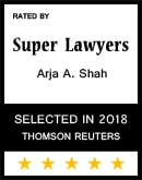 Arja Shah Rated 5-Stars by Super Lawyers