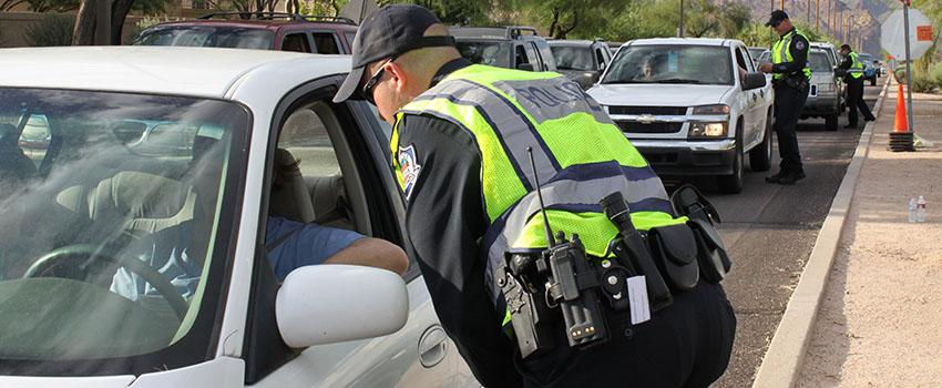 Mesa Police at Mesa DUI Checkpoint